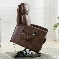 Air Leather Power Lift Recliner Chair for Elderly Padded Armchair Lounge Sofa