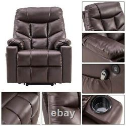 Auto Electric Leather Power Lift Massage Recliner Chair Armchair Sofa USB Remote