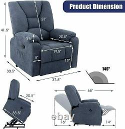 Auto Electric Power Lift Massage Heat Recliner Chair Sofa USB Vibration Control