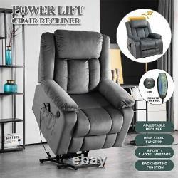 Auto Electric Power Lift Massage Recliner Chair Heat Vibration USB Control Wheel