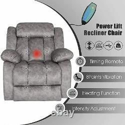 Auto Electric Power Lift Recliner Chair Heat Vibration Massage Sofa Overstuffed