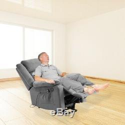 Auto Electric Velvet Power Lift Massage Recliner Chair Armchair Sofa USB Remote