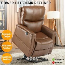 Auto Power Lift Chair Recliner PU Sofa with Massage Heat Vibration Remote Brown
