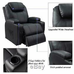 BLACK Recliner Chair Elderly Power Lift, Massage Heat Zero Gravity Cup Holder