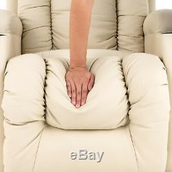 Beige Power Lift Massage Recliner Chair Armchair Sofa Leather Elderly Chair Seat