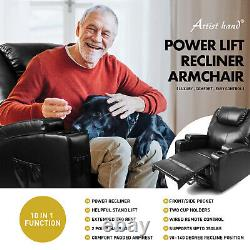 Black Electric Power Lift Recliner Chair Elderly Armchair Lounge Seat withRemote