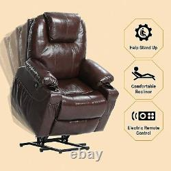 Black Oversized Leather Auto Electric Power Lift Massage Recliner Chair withRemote