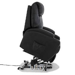 Black Power Lift Chair Real Leather Recliner Armchair Elderly Chair Lounge Seat