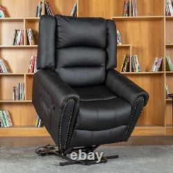 Black Power Lift Massage Reclining Chair Vibrating Heated Ergonomic Sofa with RC