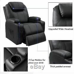 Black Power Lift Recliner Chair with Massage Heat and Vibration Elderly Massage