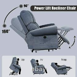 Blue Elderly Power Lift Recliner Chair Heat Vibration Massage Overstuffed Sofa