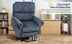 Blue For Elderly Power Lift Recliner Chair Heat Vibration Massage Overstuffed US