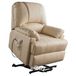 Bowery Hill Faux Leather Power Lift and Massage Recliner in Beige