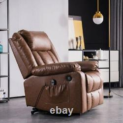 Brown Auto Electric Leather Power Lift Massage Recliner Chair Sofa USB withRemote