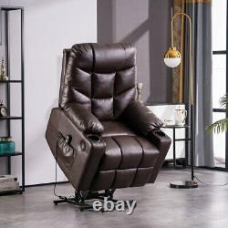 Brown Auto Electric Power Lift Massage Chair Leather Recliner Heat USB withWheels