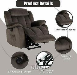 Brown Auto Electric Power Lift Recliner Chair Vibration Massage Sofa Overstuffed