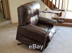 Brown Classic Plush Power Lift and Recliner Leath Living Room Chair