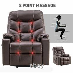 Brown Electric Power Lift Massage Recliner Chair Sofa Living Room USB withRemote
