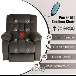 Brown Electric Power Lift Recliner Chair Massage Heat Vibration Sofa Overstuffed
