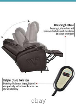 Brown Oversized Leather Auto Electric Power Lift Massage Recliner Chair withRemote