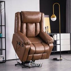 Brown Power Lift Massage Chair Full Automatic Electric Recline Heat Assist Stand