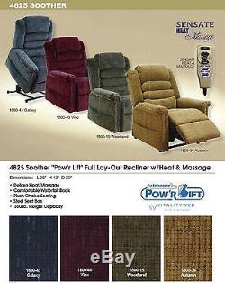 Catnapper Soother 4825 Power Recliner Lift Chair + Heat Massage Galaxy Blue