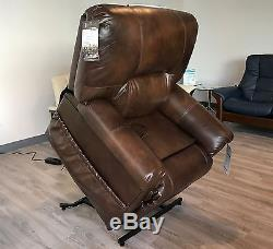 Catnapper Vintage Tobacco Top Grain Leather Chaise Power Lift Chair Recliner