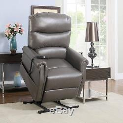 Classic Plush Bonded Leather Power Lift Recliner