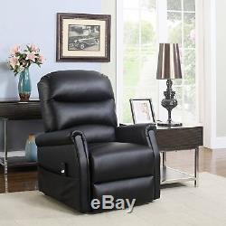 Classic Plush Recliner Bonded Leather Fabric Power Lift Reclining Chair, Black