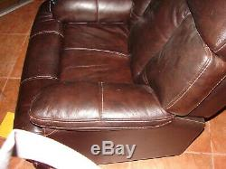 Dark Brown Leather Power Lift Recliner Flex Mobility leather w Remote Control