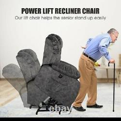 Deep Gray Electric Power Lift Recliner Chair Remote Heat Massage USB Overstuffed