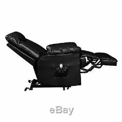 Electric Lift Chair Recliner Black Leather Power Motion Lounge Medical Seat