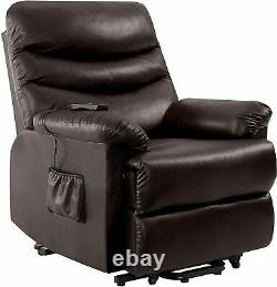 Electric Lift Chair Recliner Brown Leather Power Motion Lounge Medical Seat