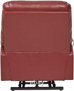 Electric Lift Chair Recliner Burgundy Leather Power Motion Medical Lounge Seat