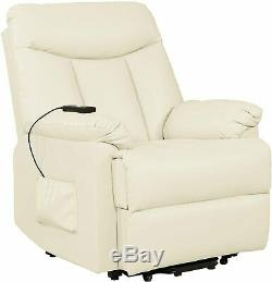 Electric Lift Chair Recliner Cream Leather Power Motion Lounge Seat Medical