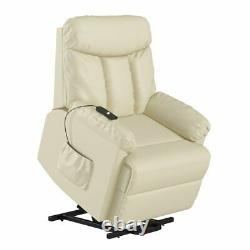 Electric Lift Chair Recliner Cream Leather Power Motion Lounge Seat Medical New