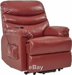 Electric Lift Chair Recliner Leather Power Motion Medical Seat Burgundy New