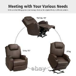 Electric Lift Power Chair Recliner Heated Vibration Massage Sofa withRemote Coffee