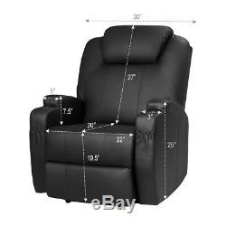 Electric Lift Power Recliner Chair Heated Vibration Massage Lounge Sofa Black