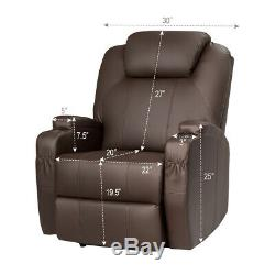 Electric Lift Power Recliner Chair Heated Vibration Massage Lounge Sofa Brown