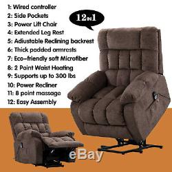 Electric Massage Lift Chair Oversized Power Recliner with Heated Sofa for Elderly