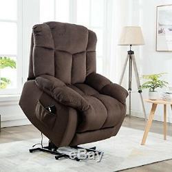 Electric Motion Lift Power Recliner Chair Overstuffed Fabric Elderly Sofa Seat