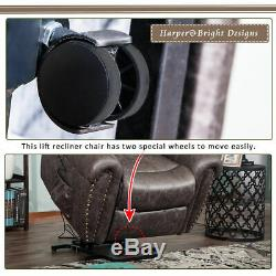 Electric Power Comfort Lift Recliner Home Chair Living Room PU Leather Padded