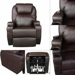 Electric Power Lift Chair Faux Leather Movie Theater Recliner Sofa Padded Seat