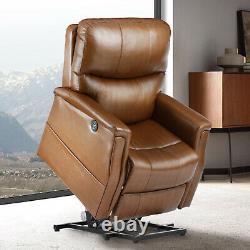 Electric Power Lift Chair Heat Massage Recliner Vibration Overstuffed Sofa Brown