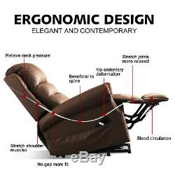 Electric Power Lift Chair Leather Recliner for Elderly Overstuffed Backrest Sofa