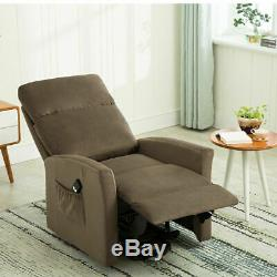 Electric Power Lift Chair Recliner Arm Chair Fabric Lounge Sofa Elderly Brown US