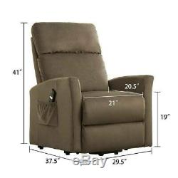 Electric Power Lift Chair Recliner Elderly Arm Chair Bedroom Fabric Lounge Sofa
