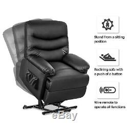 Electric Power Lift Chair Recliner Elderly Armchair Black PU leather Living Room