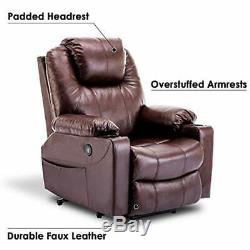 Electric Power Lift Chair Recliner Heated Massage Sofa Faux Leather With USB Charg